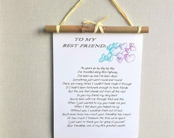 Personalized Best friend gift - Friends forever poem print - Friendship gift - Best Friend Birthday - BFF gift - Christmas gift - Wall art