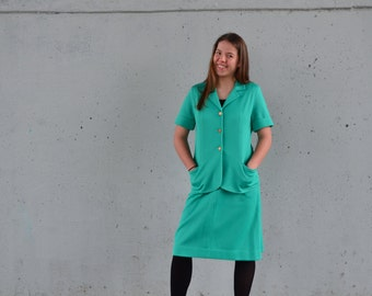 1970s work suit | skirt and blazer | teal powersuit | Size m