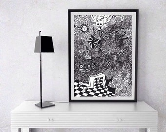 Psychedelic Art Poster Print, Trippy poster, Black and White art, erotic art, creepy strange art poster, psychedelic wall art