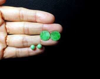 20k Antique Chinese Jade Stud Earrings