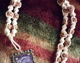 "Natural Tan Spiral Hemp Vangough ""Starry Night"" Pendant Necklace"
