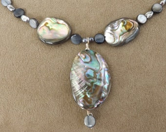 Abalone Shell and Fresh Water Pearl Necklace with Matching Earrings