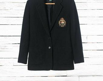 SALE - 30% | RALPH LAUREN blazer | Vintage college blazer | Wool cashmere blazer | Vintage Ralph Lauren jacket | Black wool blazer Women