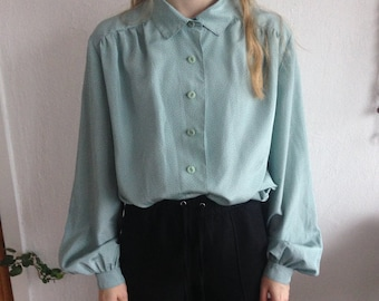 80s Vintage Polkadot Mint Pastel Green Blue Patterned Blouse for Women