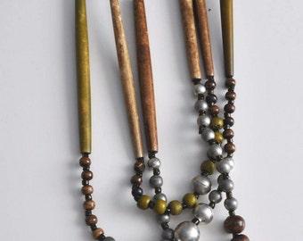 Vintage bone necklace, tribal necklace, boho necklace, artisan necklace