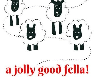 Funny congratulations card, funny sheep card, Four Sheeps A Jolly Good Fella!