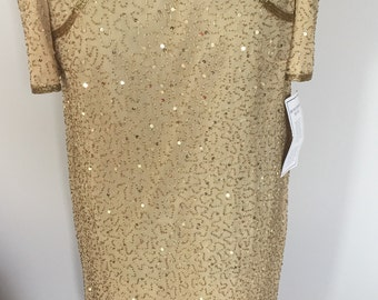 Vintage Gold Sequin & Beaded Sheath Dress 1980s