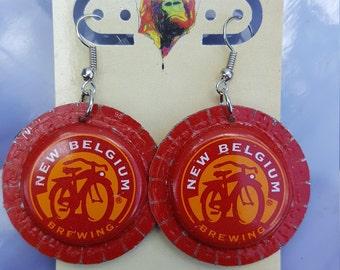 New Belgium Fat Tire Bottlecap Earrings