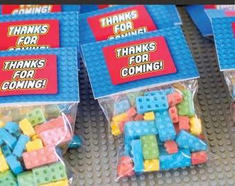 Building Block / Brick Party Favor Gift Tag / Party Favor Label / Boy Birthday Party / Colorful / Thanks for Coming Tags / Instant Download
