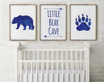 Baby Boy, Nursery Decor, little Bear Cave, watercolor Royal Blue, Nursery Quote, Set 3 Prints, Nursery Art gift for baby, woodlands,print