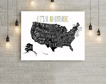U.S. Travel Map, Pin Map - 20x30