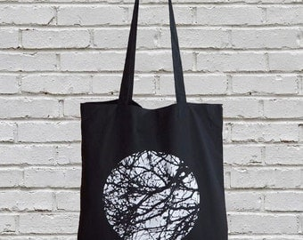 tote bag, tote, black tote bag, cotton bag, cotton tote bag, cotton tote, black tote, shopping bag, tree bag, tree, nature, printed bag