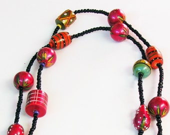 Large, Bright, Happy Necklace, Wood, Painted Wood, Black, Red, Orange, Fuschia
