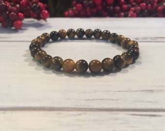 Genuine Tiger Eye Bracelet, 6mm small bead Tiger Eye stacking bracelet, wrist mala beads for determination, will power, focus, goal setting