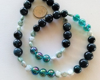 Teal Green Beaded Necklace with AB finish