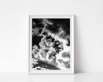 Clouds Print, Black and white Clouds Print, Printable Clouds, Clouds Art Print, Clouds Art, Sky Decor, Minimalist Art, Modern Wall Print