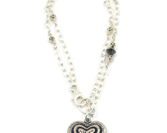 """Bracelet, Silver Heart Charm on Silver Chain with Swarovski crystals, 8""""."""