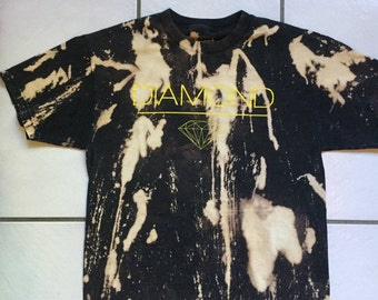 Diamond Supply Bleached T-Shirt / Bleach Distressed Diamond Supply T Shirt Size Large