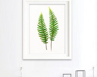 BUY 2 GET 1 FREE - Sword Fern watercolour painting, botanical painting, leaves print, green home decor art print, giclee print