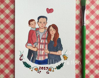 custom family portrait, illustration, custom portrait, wall decor, gift for family, drawing, illustration, mothers day, fathers day
