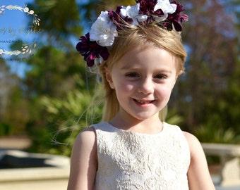 "The ""Beth"" floral halo crown// flower crown wedding, dark purple wedding, flower girl headband, floral headpiece, floral halo, photo prop"