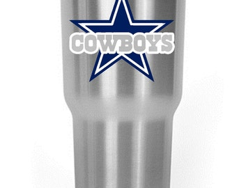 Dallas Cowboys Star Decal Yeti/RTIC/Corksicle/Ozark Cup Blue White Silver Grey