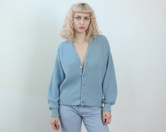 Vintage Slouchy Cardigan // 80s Sweater Button Up Jumper Blue - Large