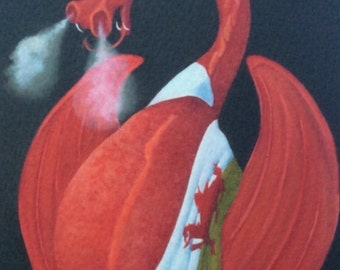 "welsh dragon painting ""Dai Coch"""