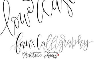 Lowercase faux calligraphy practice sheets