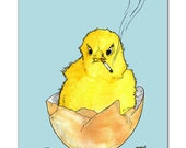 Angry Chick Art Print   Funny watercolor illustration of a baby chicken popping out of a cracked egg already jaded and smoking weird giclée