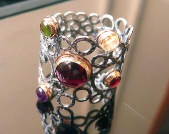 Multistone Ring - Silver Boho ring - Garnet Stone - Amethyst Stone - Citrine stone - Peridot ring - 925 Silver - 14K Gold - Statement Ring