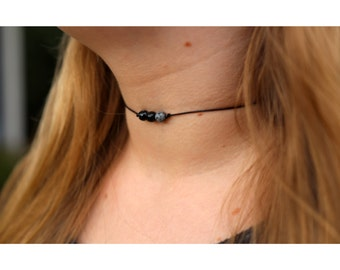 BLACK MARBLE CHOKER: Beaded Choker Necklace, Dainty Beaded Choker, Thin Beaded Choker, Leather Beaded Choker, Boho Beaded Choker, Chokers