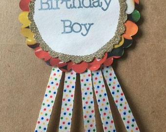 Birthday Pin *CUSTOM* *with ribbon*