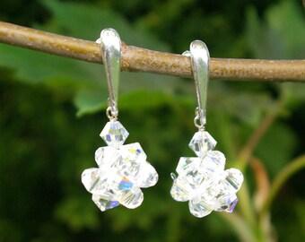 Swarovski Crystal Ball Earrings Crystal Post Earrings Swarovski Clear AB Earrings Bridal Earrings Swarovski Clear AB gift for her