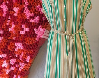 brown, green, and white striped dress with matching fabric belt