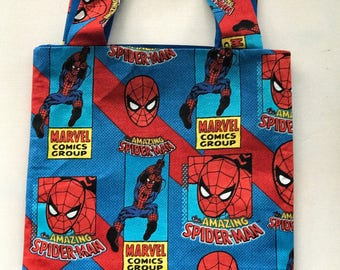 Boys Tote Bag, Library bag, book bag, toy bag, Preschool Bag in The Amazing Spider-Man!