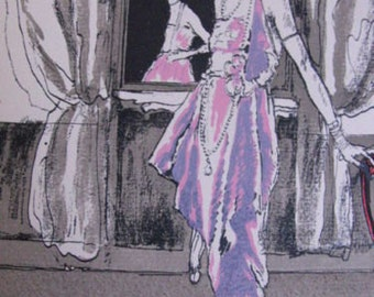 Étienne Drian what you do!   french original stencil Fashion 1920 Worth evening dress