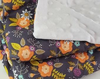 Floral Minky Baby Blanket, Monogrammed Baby Blanket, Custom Baby Blanket, Baby Shower Gift, Baby Gift,