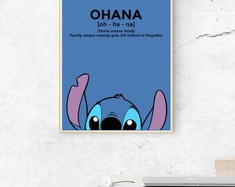 Lilo and Stitch Ohana Minimal Movie Film Poster 2 Variations (A1, A2, A3)