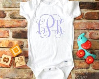 Infant Girl Monogram Bodysuit, Baby Shower Gift, Coming Home Outfit, New Baby, Personalized Gift