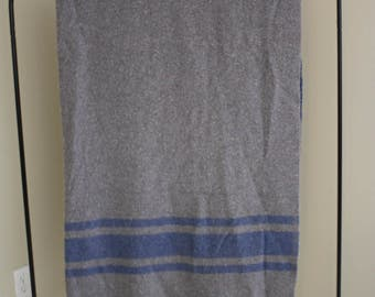 Charcoal and Blue Vintage Throw Blanket