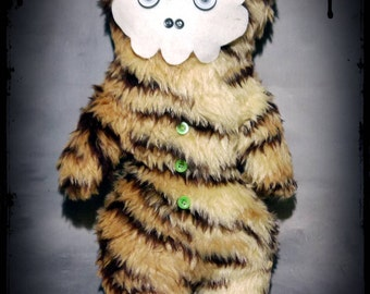 Skull Tigris. Alternative - Handmade - Gothic - Emo - Alternative - Stuffed Monster - Plush - Plushie.