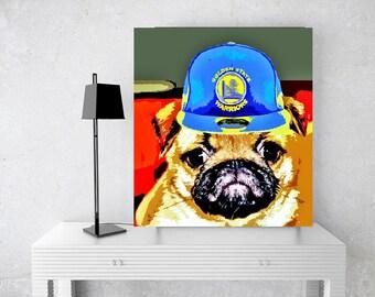 Custom Pet Art, Custom Sports Art, Sports Fan Gift, Pug, Baseball Football Basketball Personalized Art, Print or Canvas, Fav Team Customized