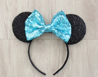 Aqua Minnie Bow, Silver Minnie Mouse Ears, Disneyland Ears, Minnie Mouse Ears, Minnie Ears, Mickey Mouse Ears, Disney World, Disneyland
