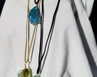 Wire Wrapped Glass Necklaces