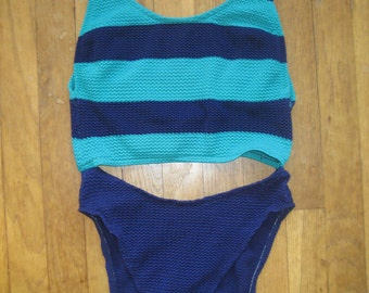 Robby Len Swimfashions Vintage Blue Green Teal Striped High Waist Cutout Peek-a-boo One-Piece Swimsuit Bathing Suit Women's Sz 10