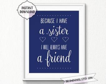 Sisters print, NAVY nursery, INSTANT download, Nursery, sisters Printable Art, Digital file, nursery wall art, printable sister art, digital