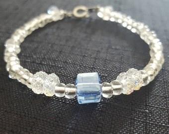 Light Blue Cube Jewel with White Sparkles beaded bracelet