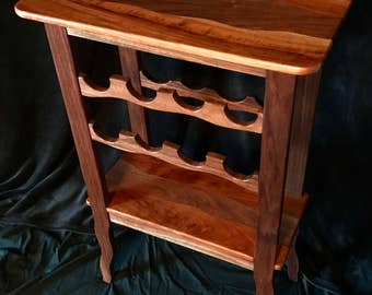Hand crafted Walnut and Cherry wine rack table
