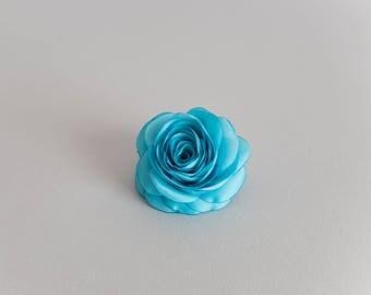 Turquoise hair clip flower, Bridesmaid hair accessories, Flower hair clip